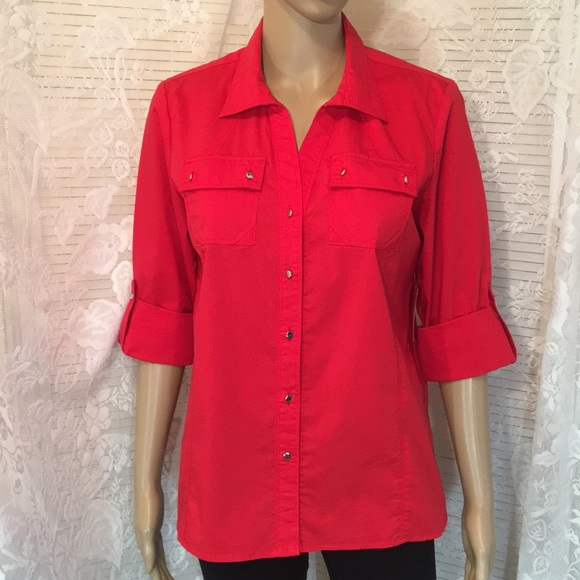 Coral Bay Tops Petite Button Front Tiny Silver Buttons Poshmark